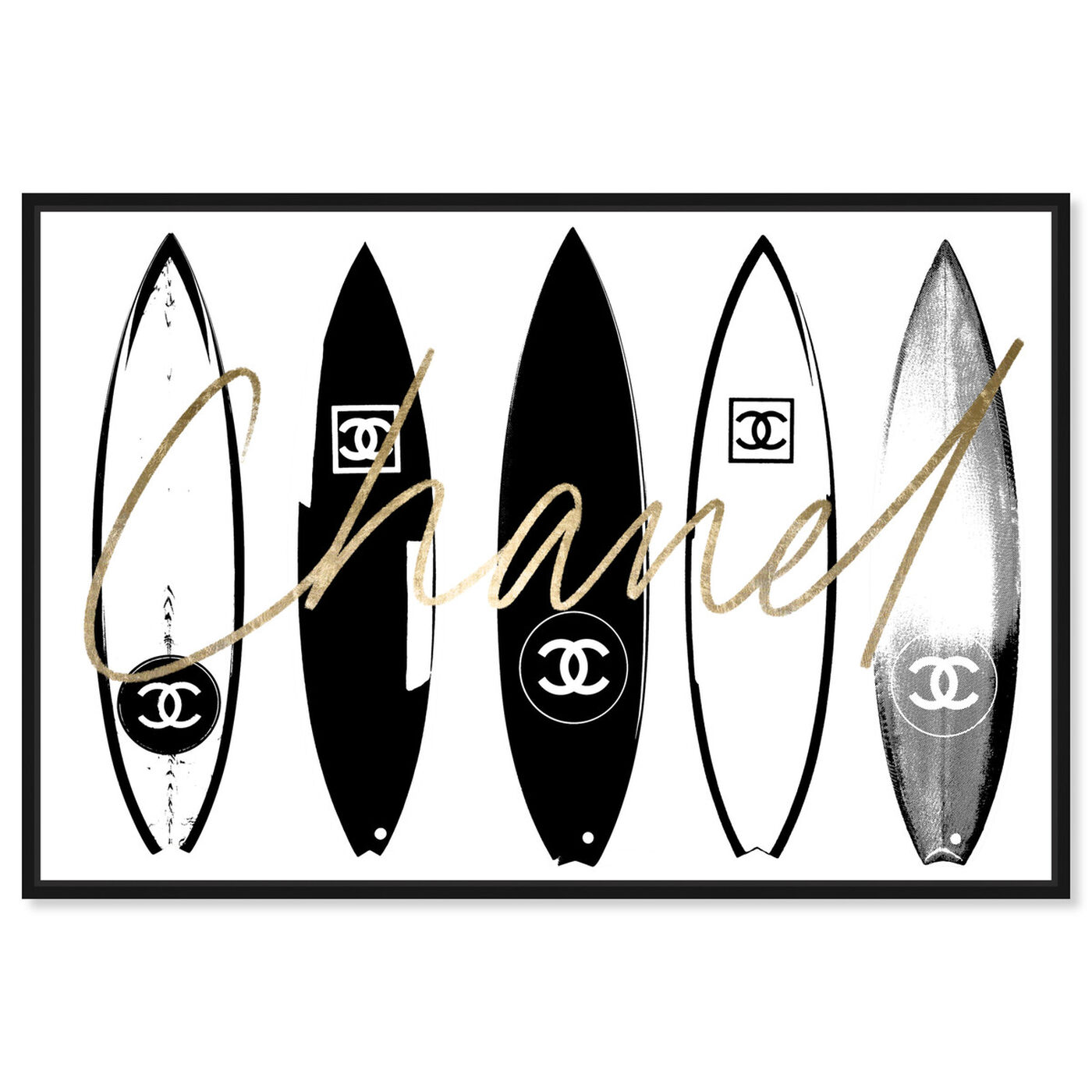 Front view of Surfing Paris White featuring fashion and glam and lifestyle art.