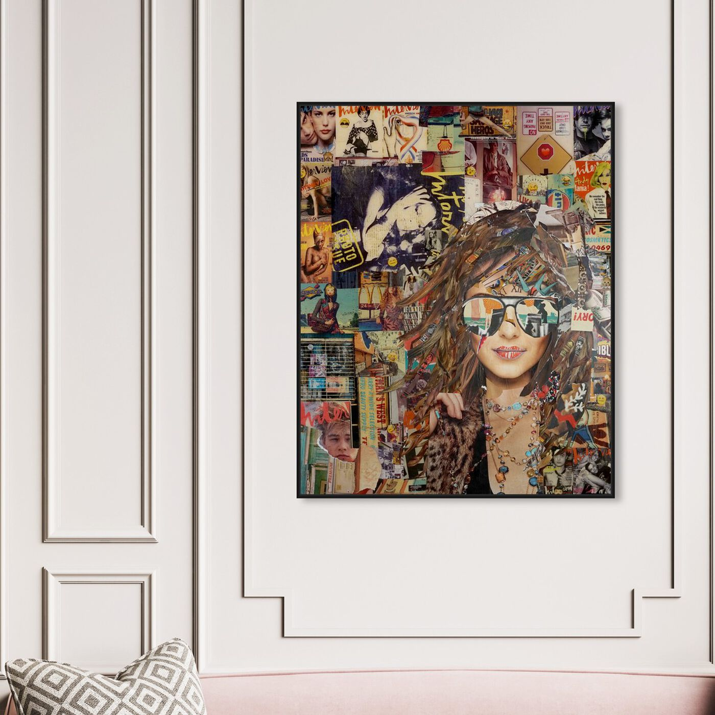 Hanging view of Katy Hirschfeld - Girl and Sunglasses featuring fashion and glam and portraits art.