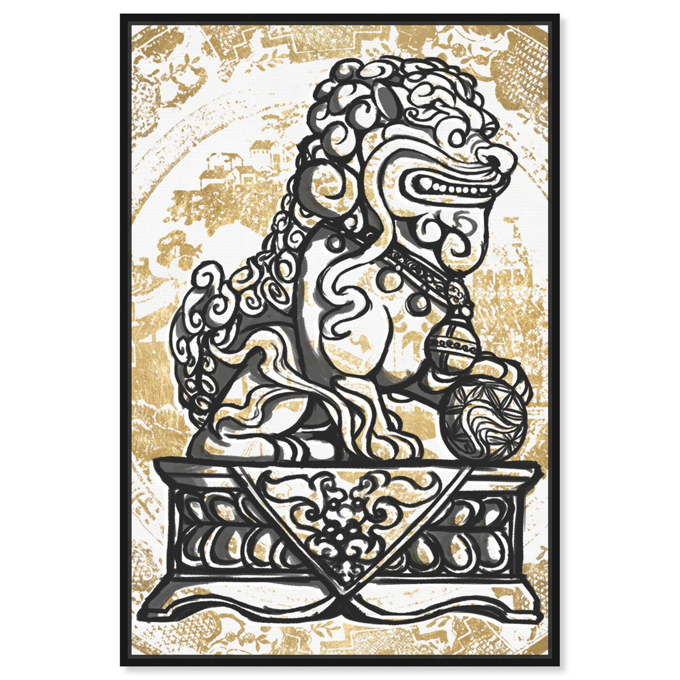 Front view of Foo Dog Luxe Night featuring world and countries and asian cultures art.
