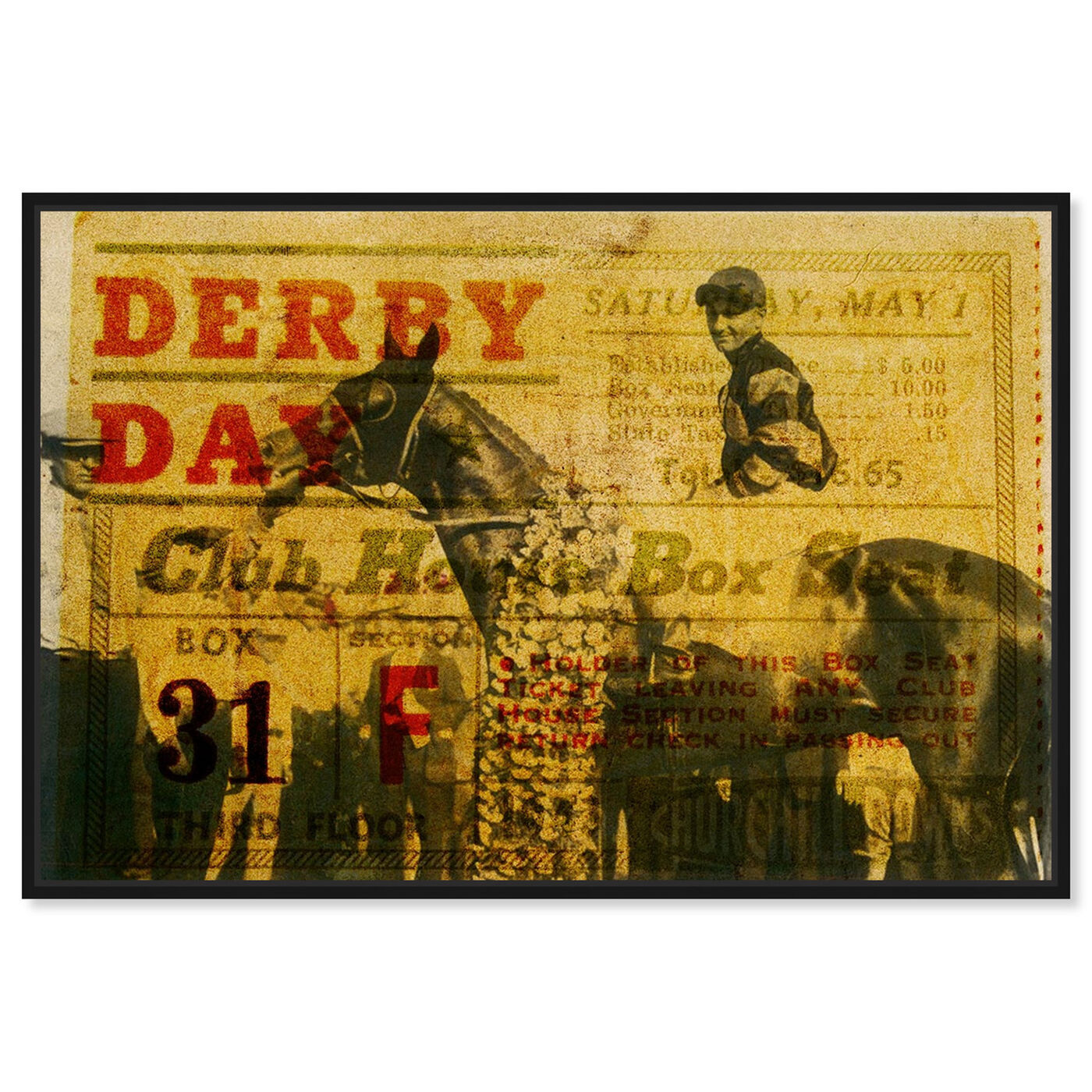 Front view of Derby Day 1943 featuring advertising and posters art.