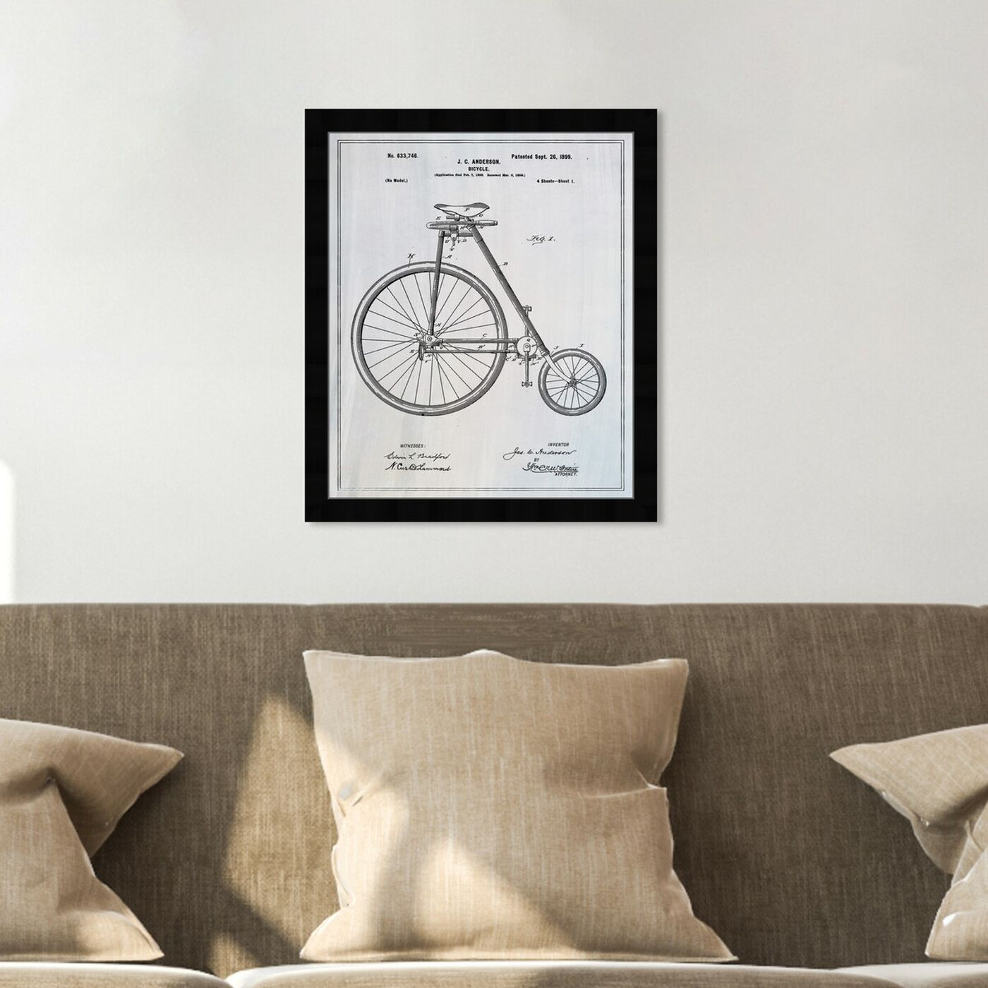 Hanging view of Bicycle 1899 featuring transportation and bicycles art.