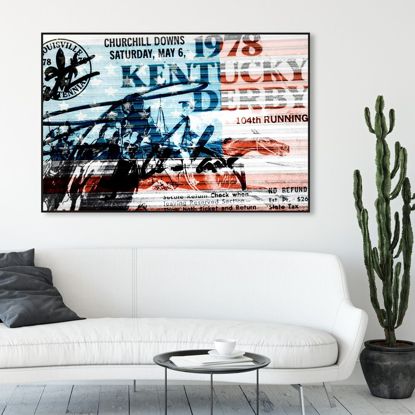 Hanging view of 1978 Kentucky Derby featuring world and countries and american countries art.