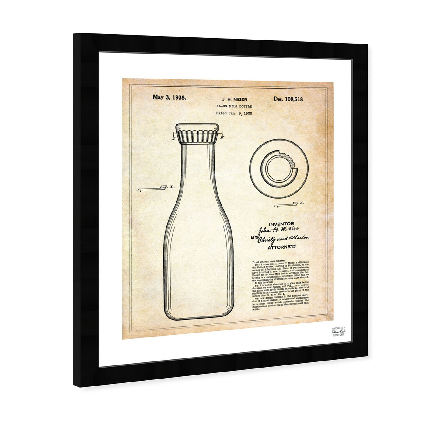 Angled view of Milk Bottle 1938 featuring food and cuisine and baking essentials art.