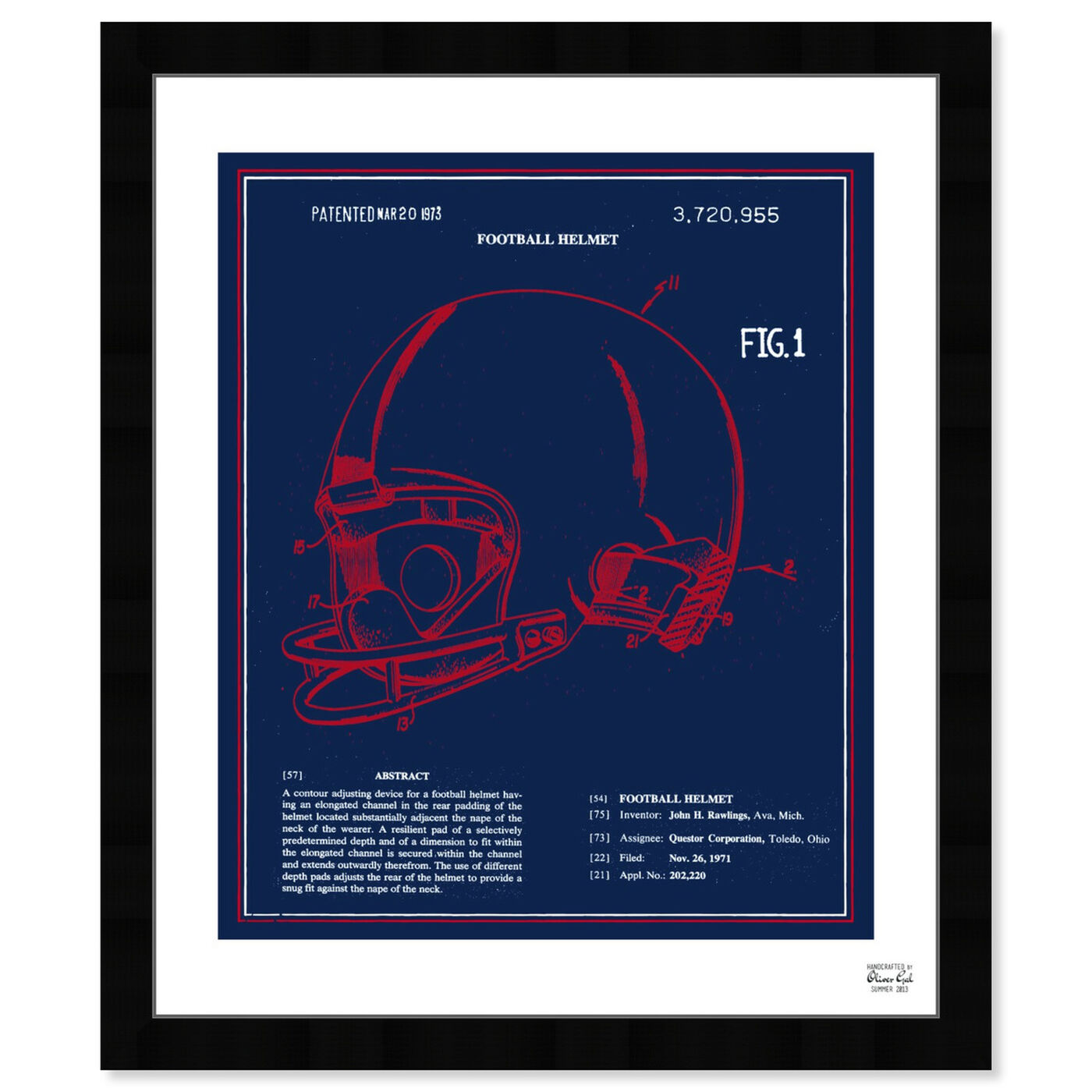 Front view of Football Helmet 1973 - Red White Blue featuring sports and teams and football art.