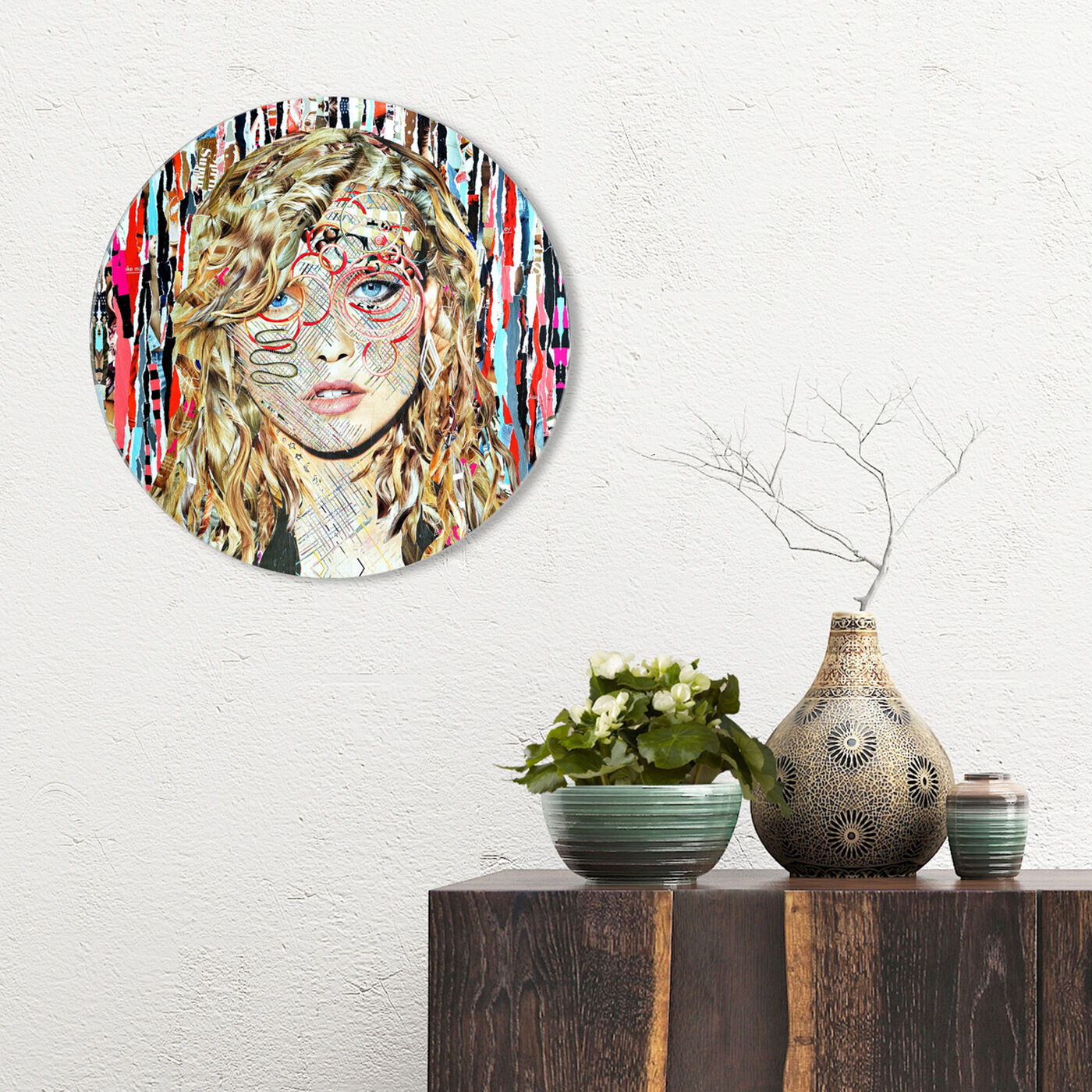Hanging view of Katy Hirschfeld - Blondie ROUND featuring fashion and glam and portraits art.