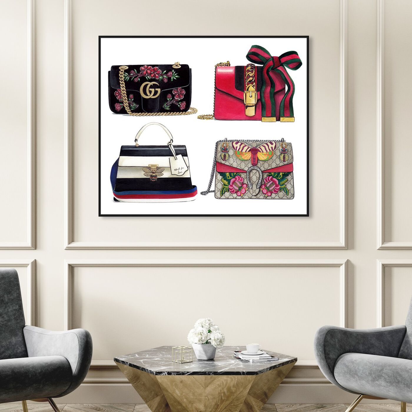 Hanging view of Doll Memories - Collage featuring fashion and glam and handbags art.