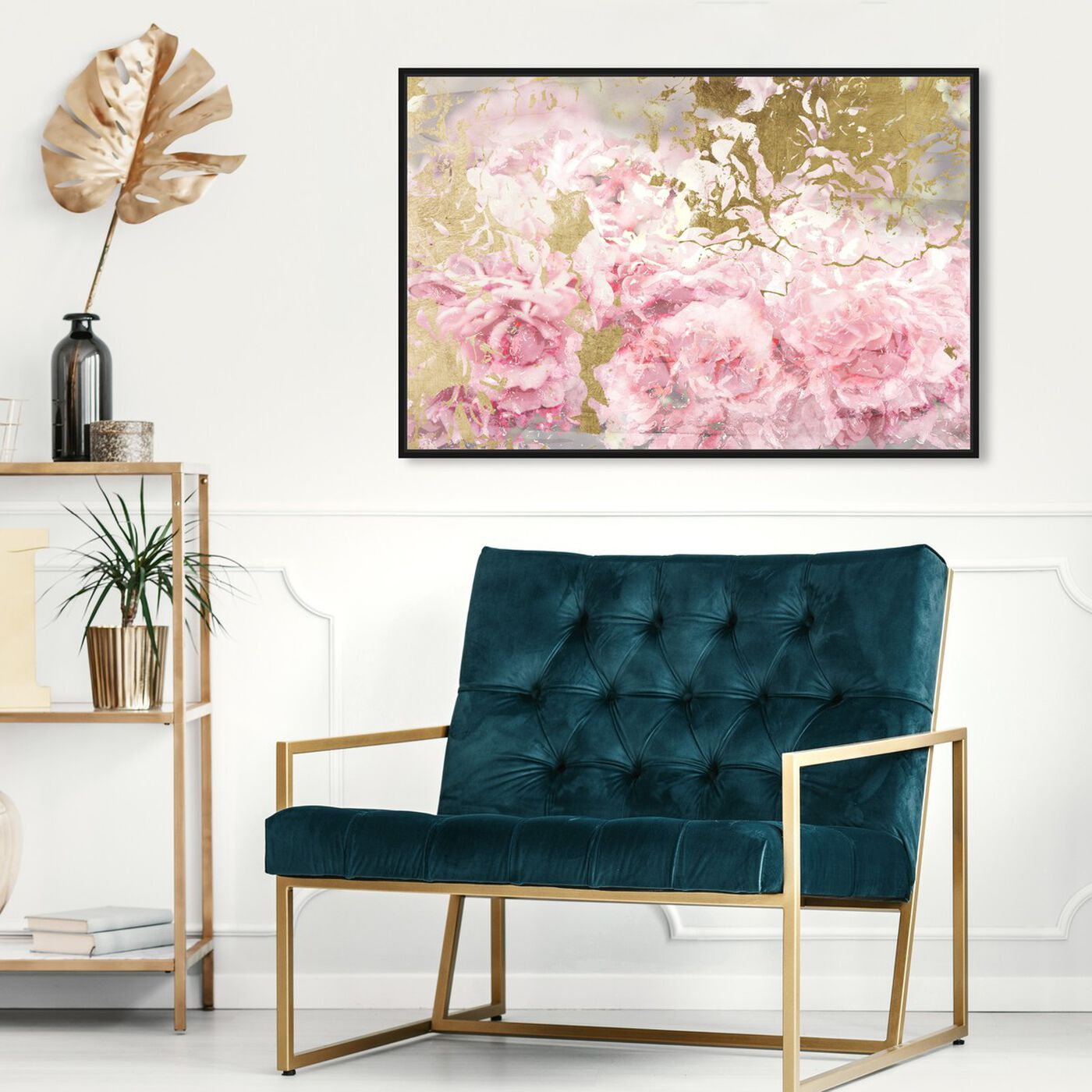 Hanging view of Pink and Gold Camellias featuring floral and botanical and florals art.