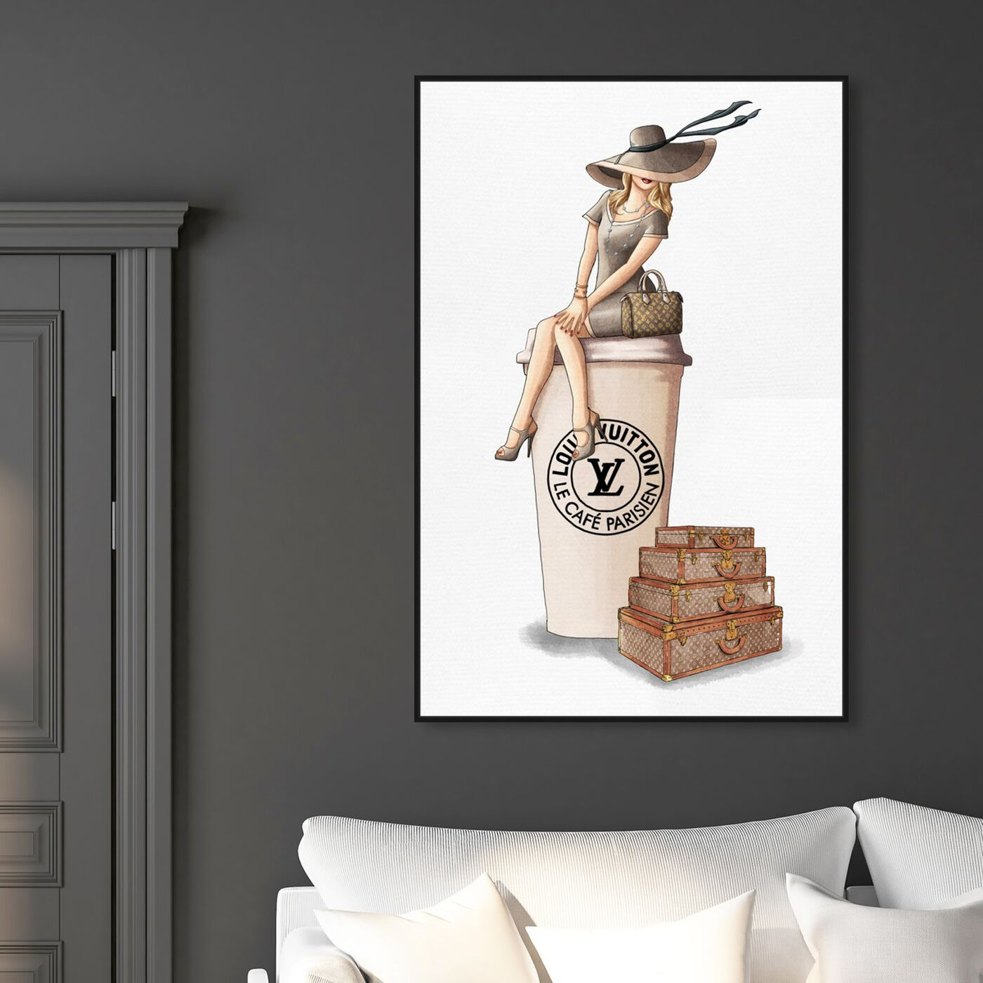 Hanging view of Cafe au Lait Paris featuring fashion and glam and handbags art.
