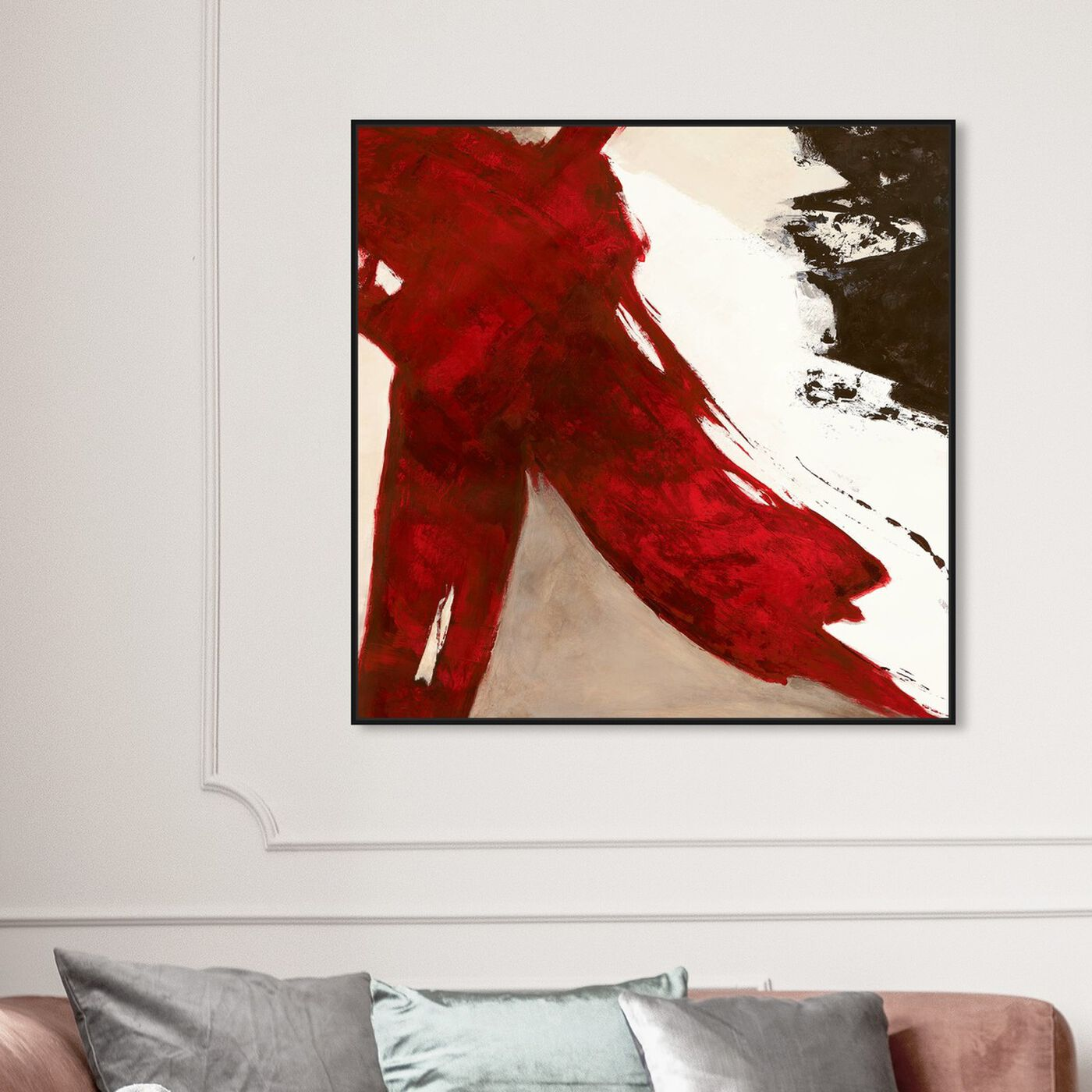 Hanging view of Sai - Rubrum V 1SN1860 featuring abstract and paint art.