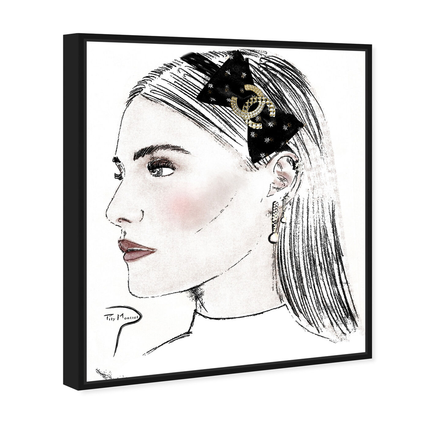 Angled view of Pily Montiel - PROFILE GIRL PENCIL featuring fashion and glam and portraits art.