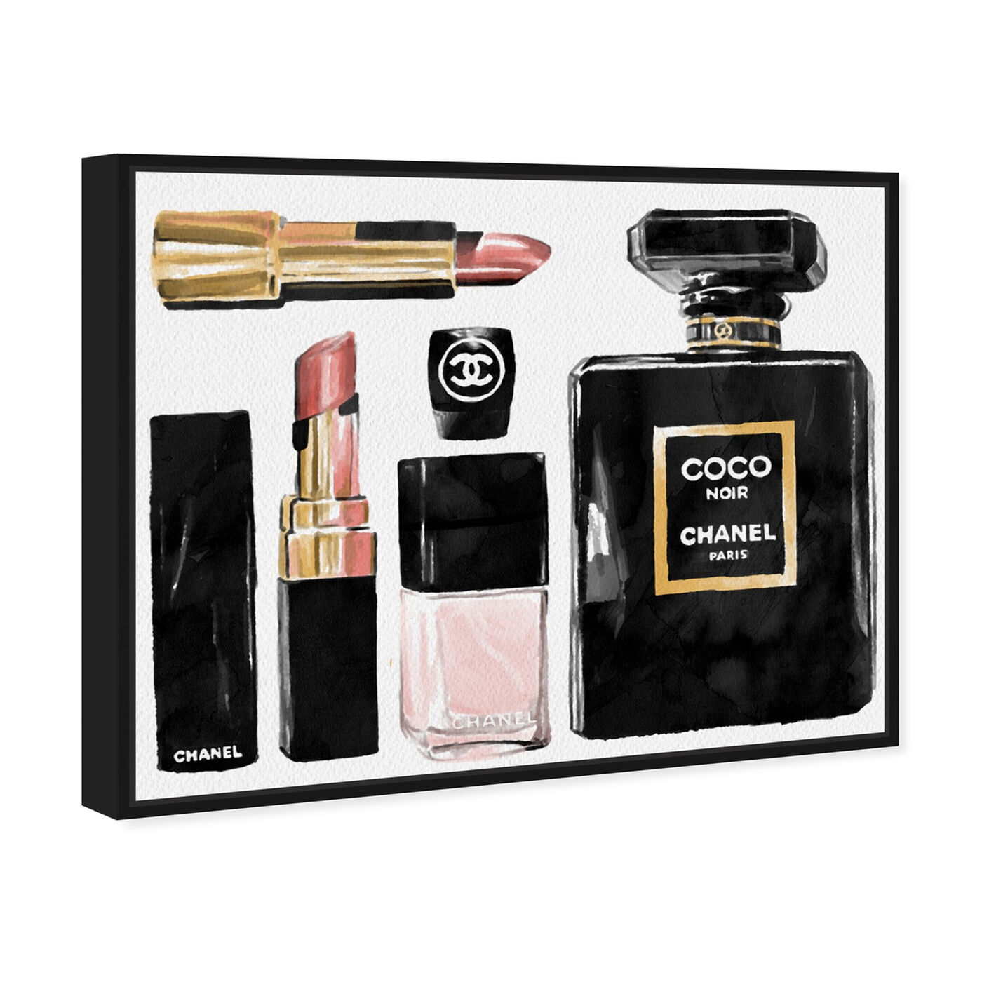 Angled view of Essential Coco I featuring fashion and glam and perfumes art.
