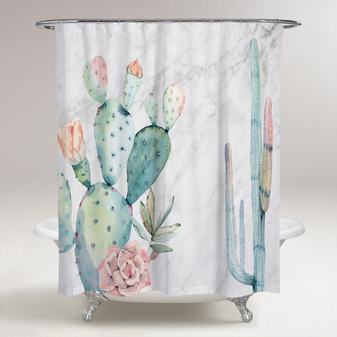 Marble and Succulents Shower Curtain