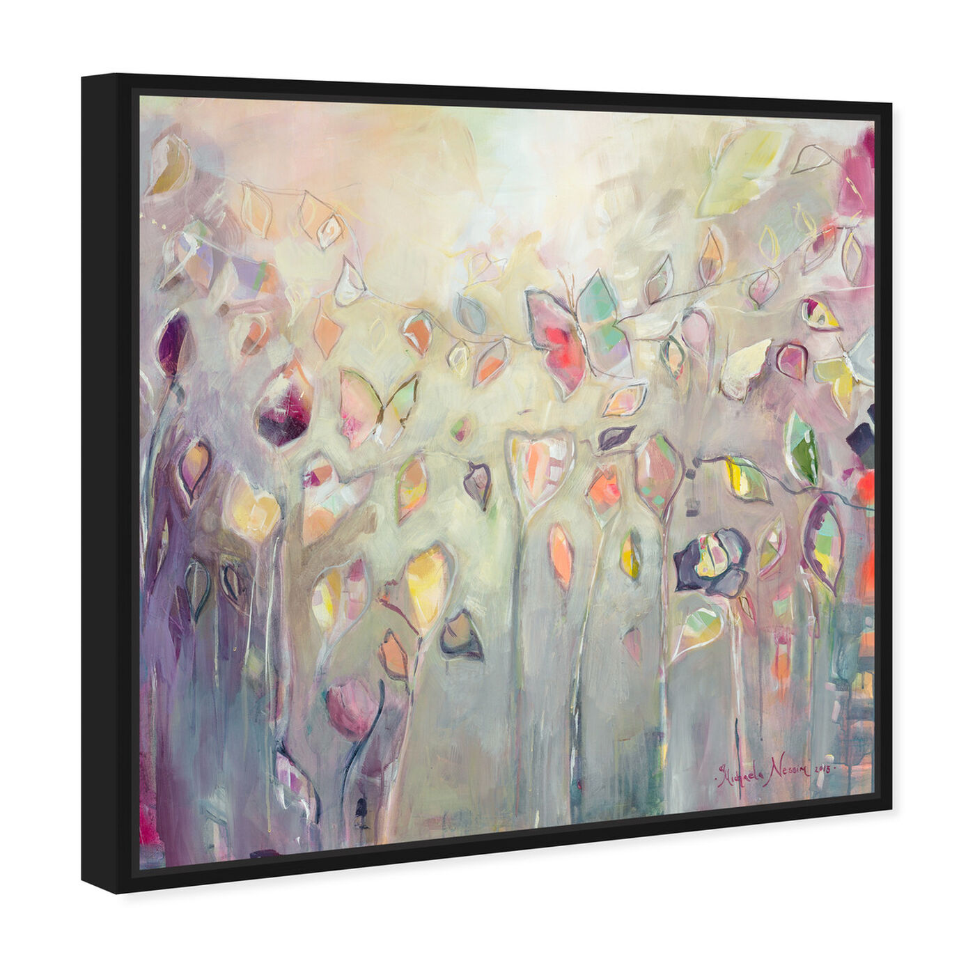 Angled view of Butterfly Dance by Michaela Nessim Canvas Art featuring abstract and paint art.