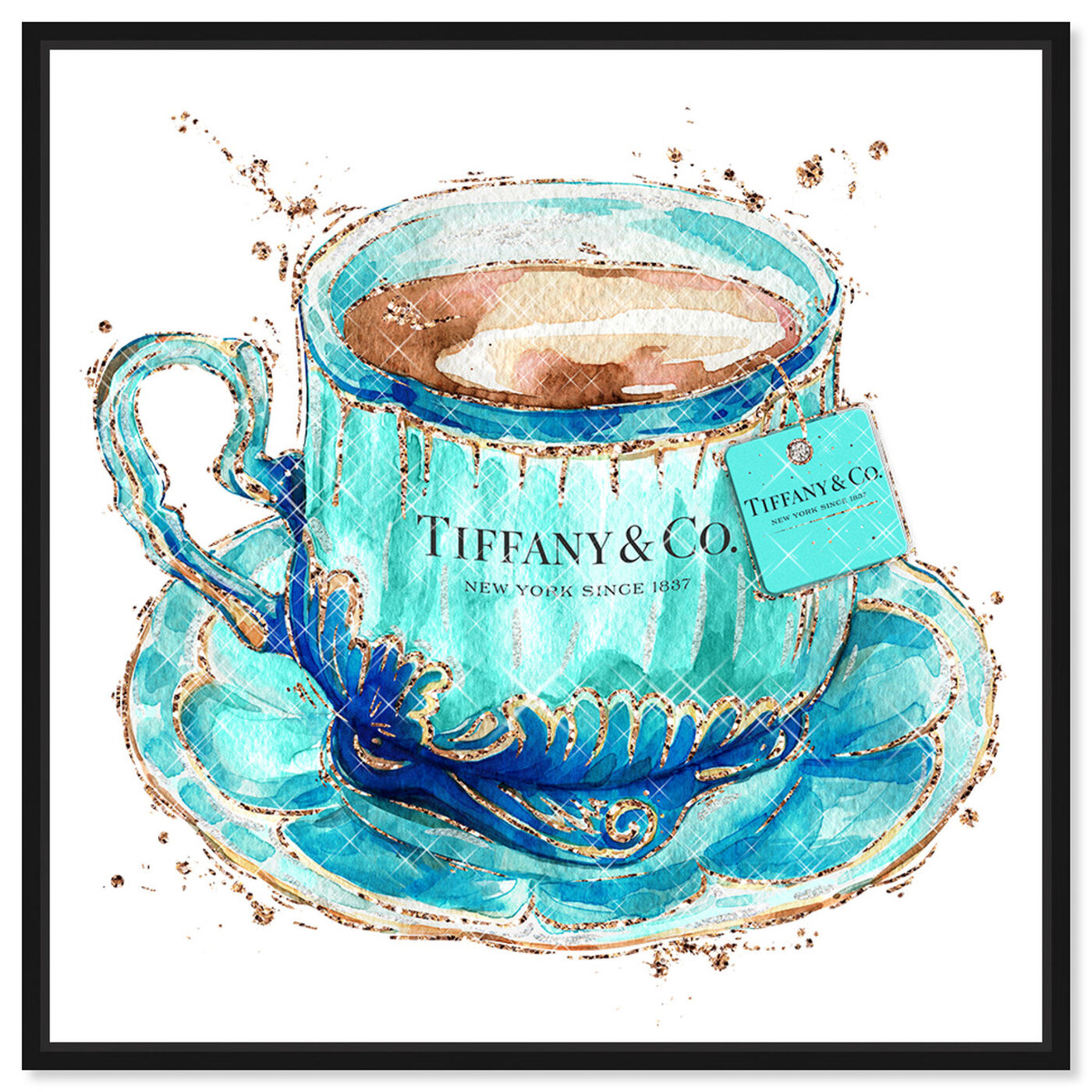 Front view of Aqua Tea Cup featuring fashion and glam and fashion lifestyle art.