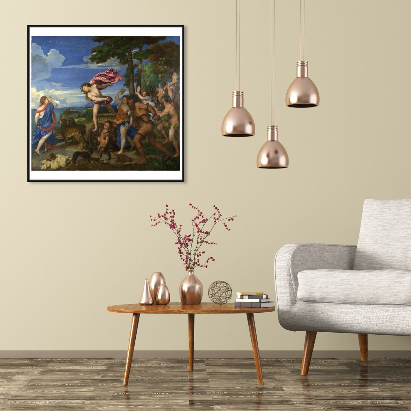 Hanging view of Titian - Bacchus and Ariadne featuring classic and figurative and renaissance art.