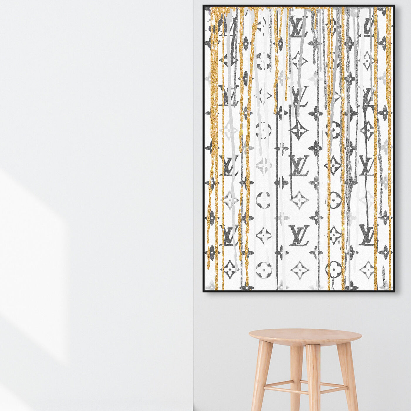 Hanging view of Luxury Drips Black and White featuring fashion and glam and lifestyle art.
