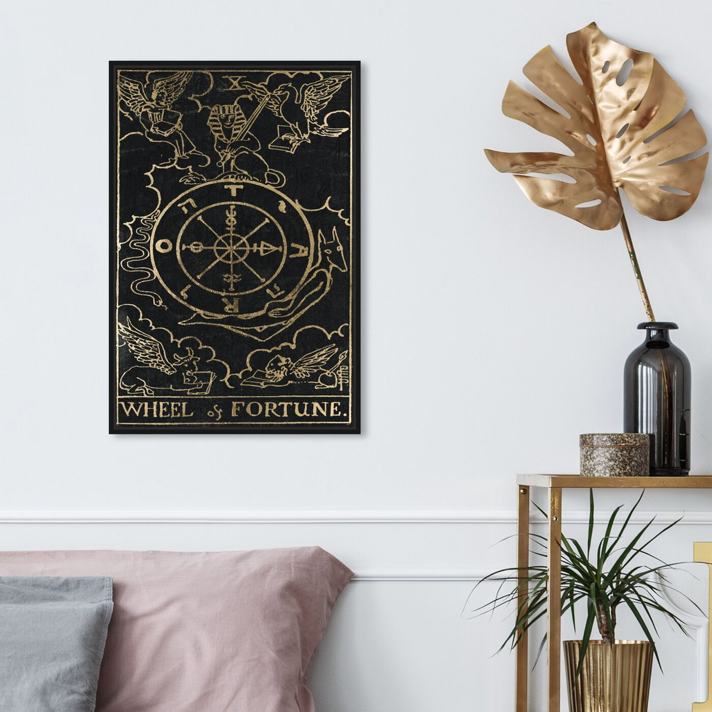 Hanging view of Wheel of Fortune featuring spiritual and religious and astrology art.