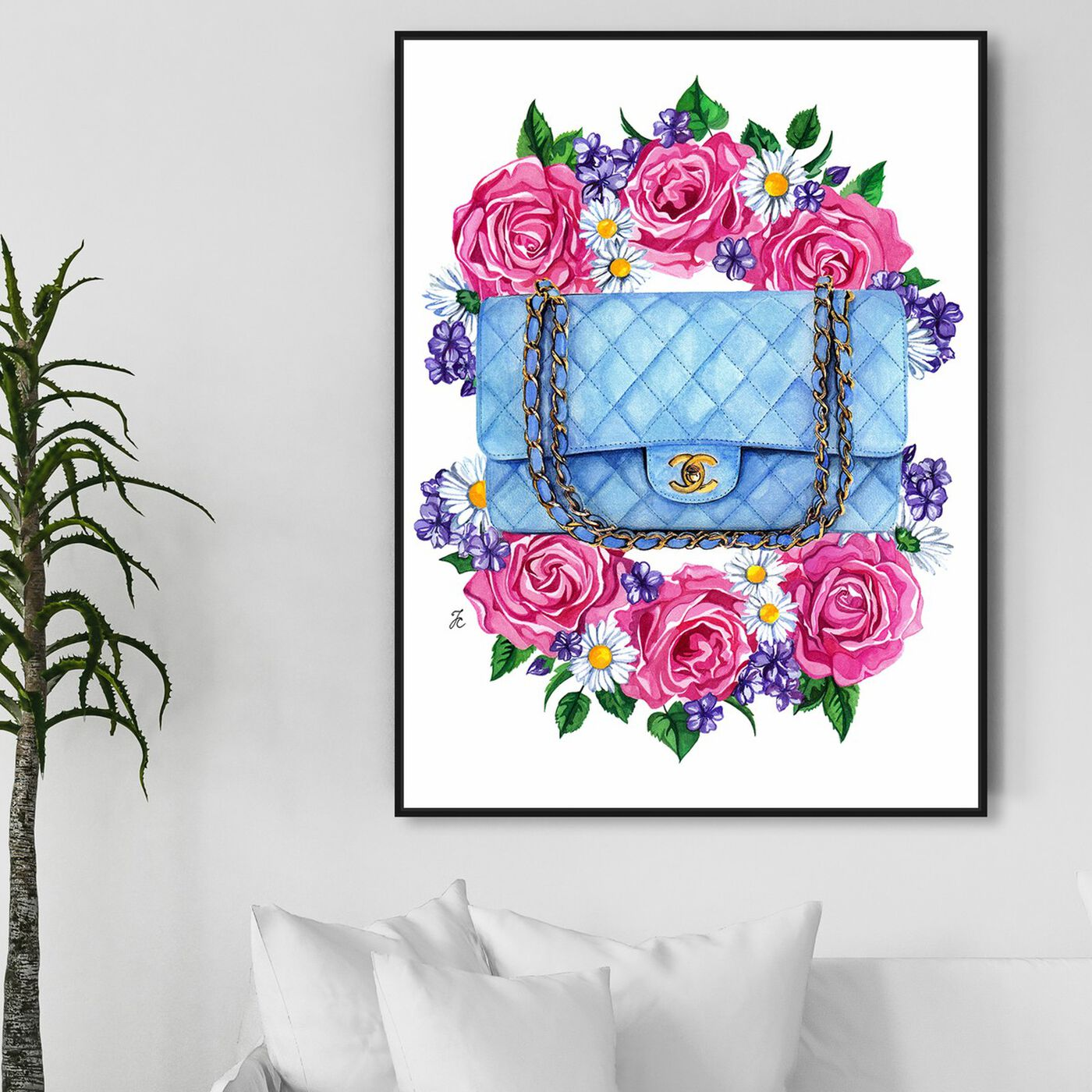 Hanging view of Doll Memories - Pastel Blues featuring fashion and glam and handbags art.