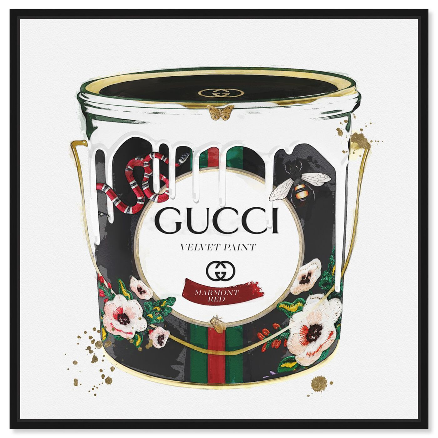 Front view of Velvet Marmont Paint Can featuring fashion and glam and cans art.