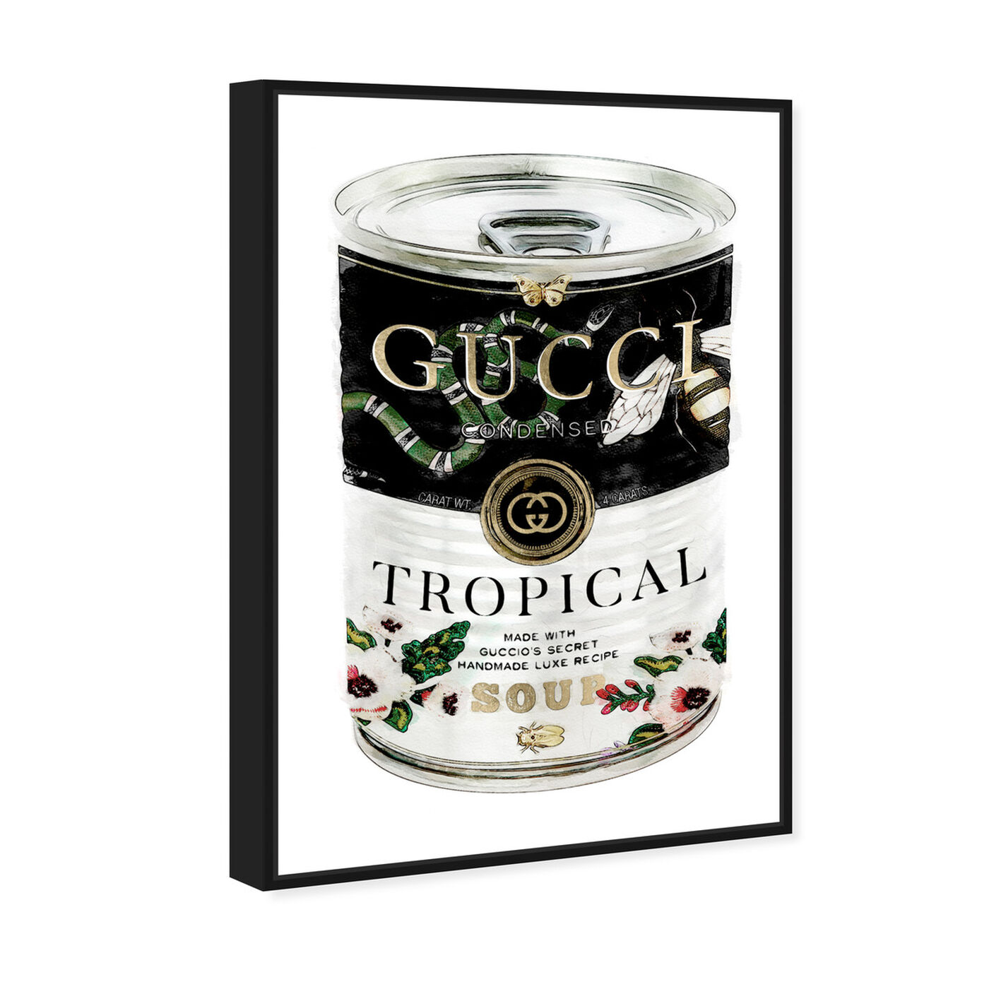 Angled view of Italian Luxe Soup Emerald featuring fashion and glam and soup can art.