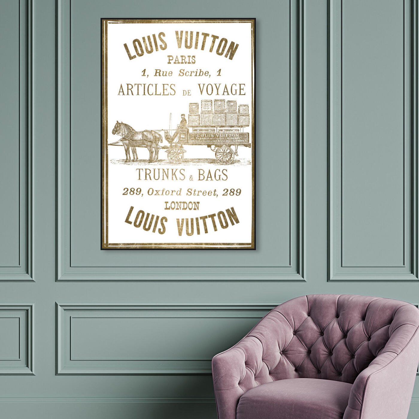 Hanging view of Articles de Voyage in Gold featuring fashion and glam and road signs art.