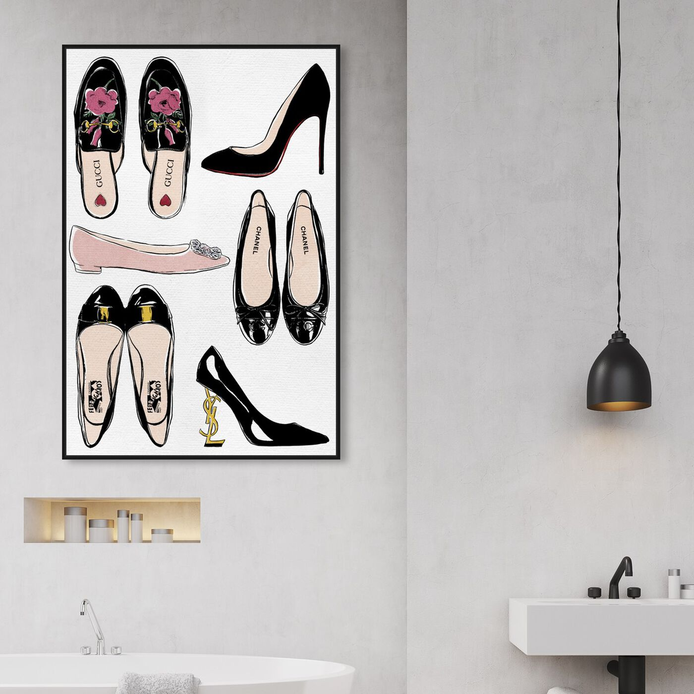 Hanging view of My Luxe Shoe Collection featuring fashion and glam and shoes art.