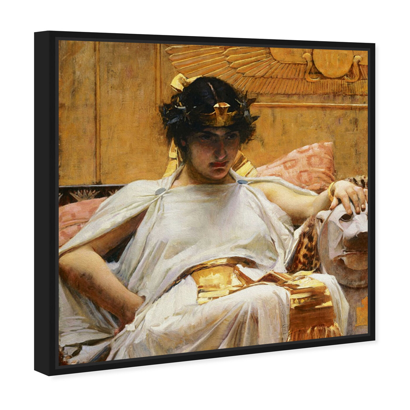 Angled view of Waterhouse - Cleopatra 1888 featuring classic and figurative and classical figures art.