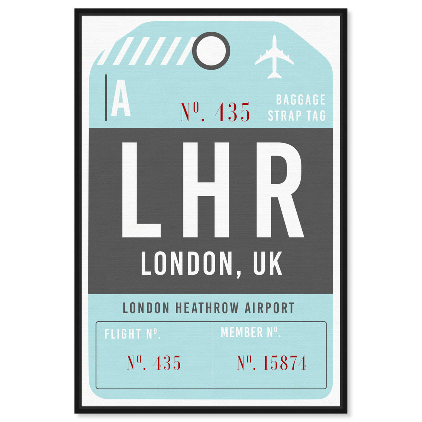 Front view of London Luggage Tag featuring cities and skylines and european cities art.