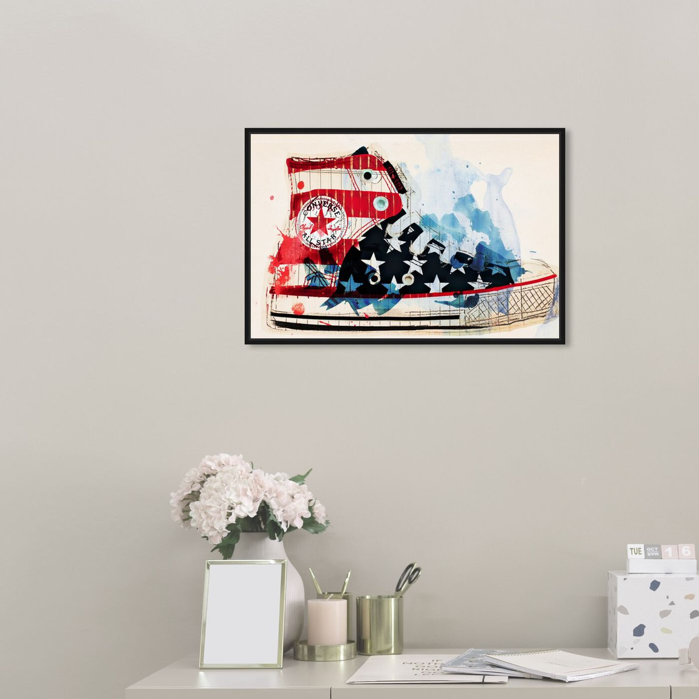 Hanging view of America's Sneaker featuring americana and patriotic and us flags art.