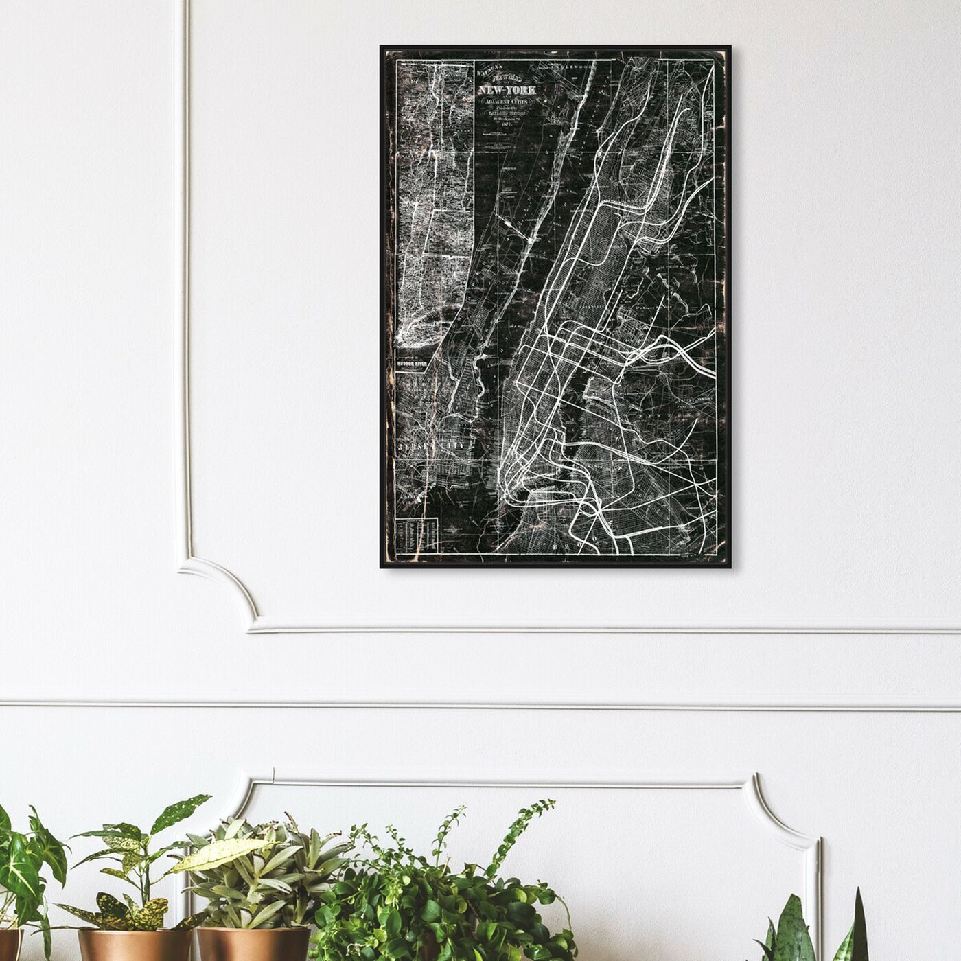 Hanging view of NY Subway Map featuring maps and flags and us cities maps art.