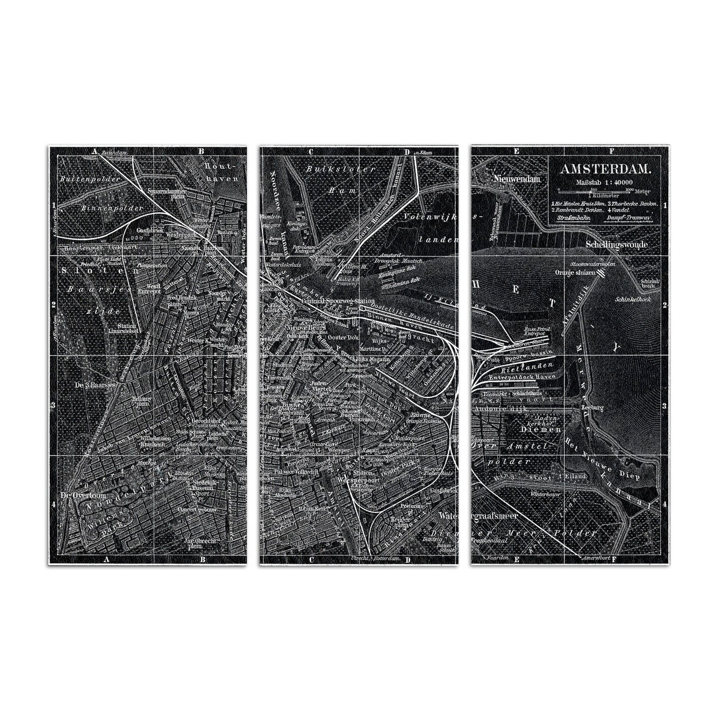 Map of Amsterdam in 1905 Triptych