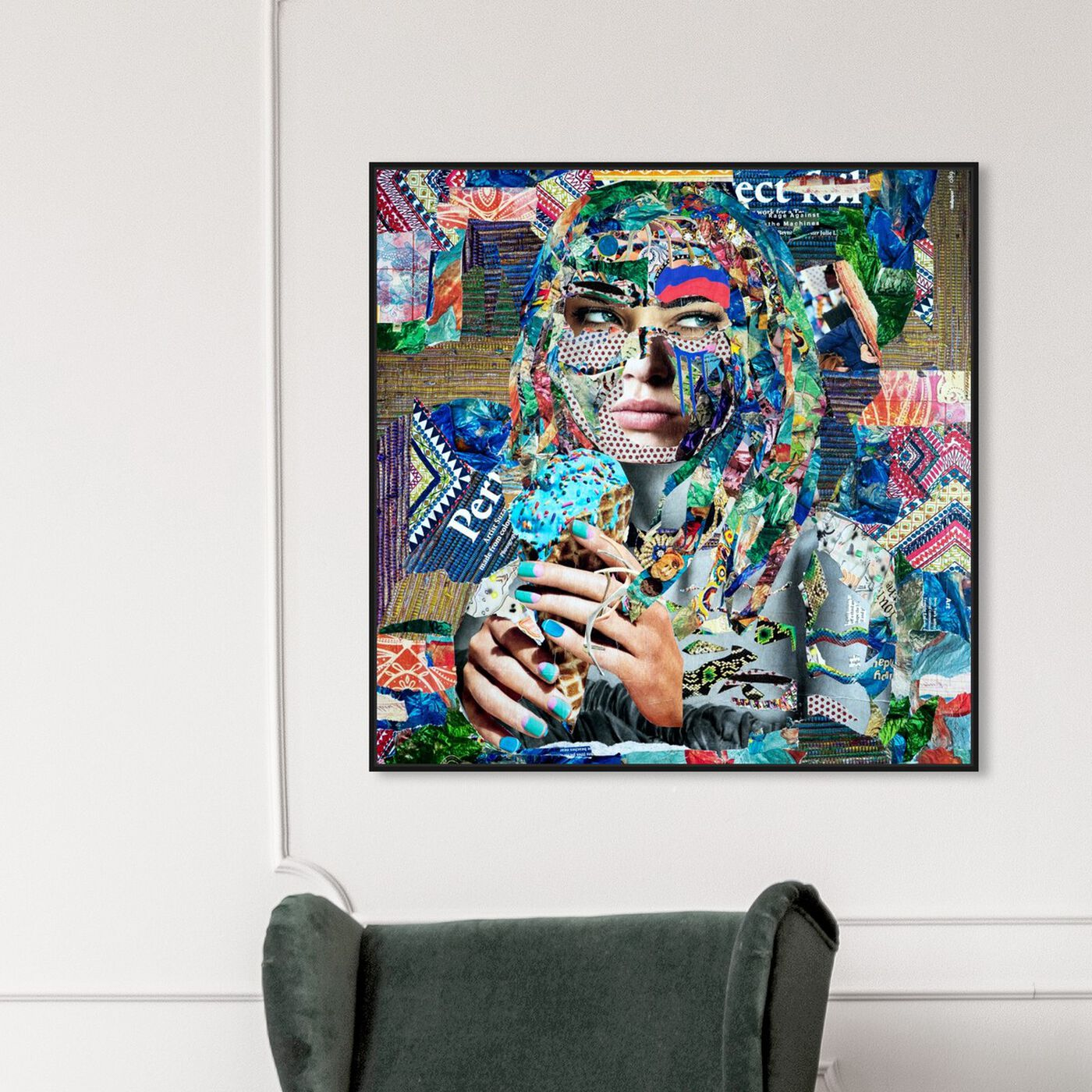 Hanging view of BlueRaspberry by Katy Hirschfeld featuring fashion and glam and portraits art.