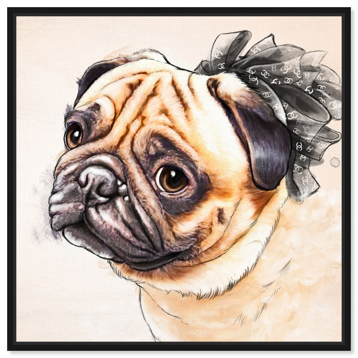 Front view of Watercolor Pug featuring animals and dogs and puppies art.