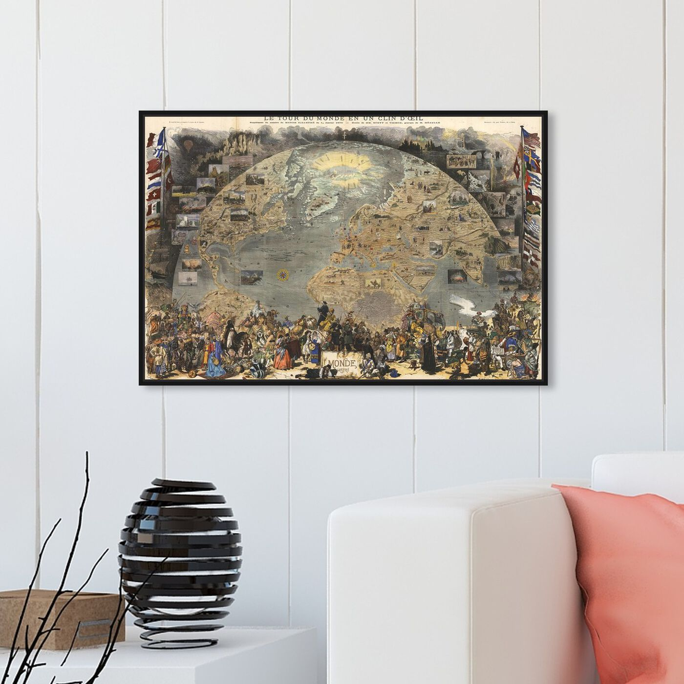 Hanging view of Le Tour De Monde Map 1876 featuring classic and figurative and renaissance art.