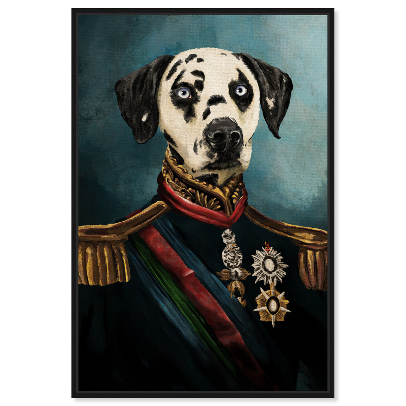 Front view of Dalmation Duke featuring animals and dogs and puppies art.