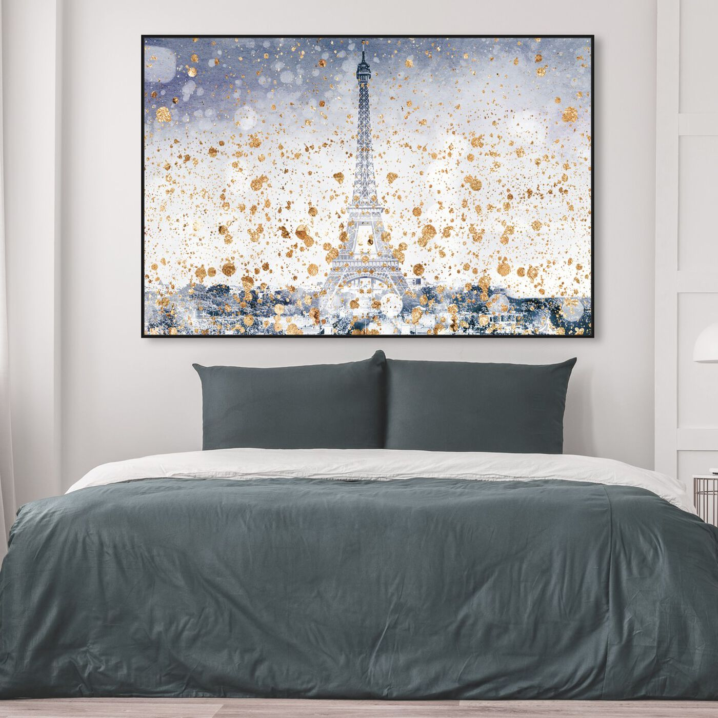 Hanging view of Eiffel Blue Dusk featuring cities and skylines and european cities art.