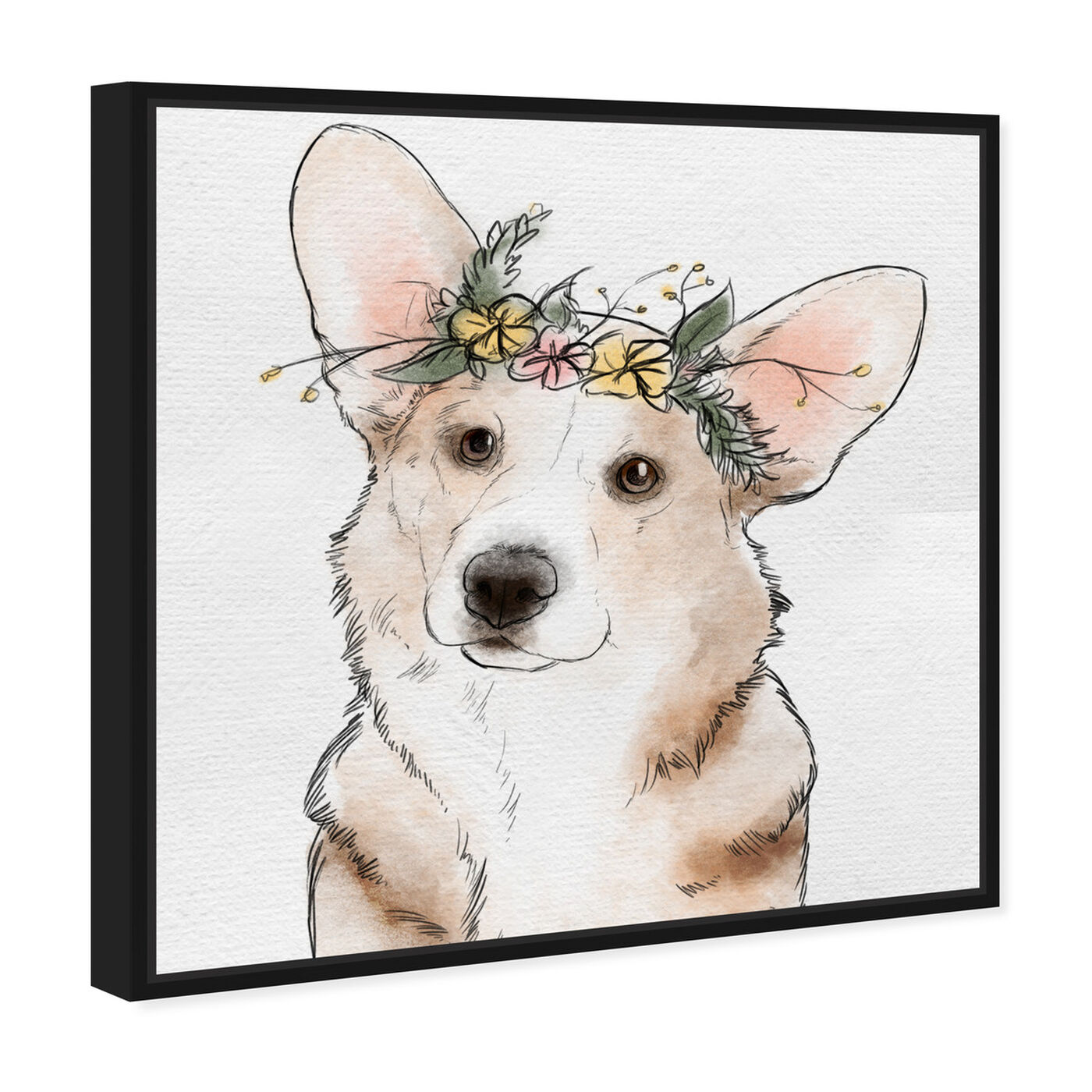 Angled view of Floral Crown Corgi featuring animals and dogs and puppies art.