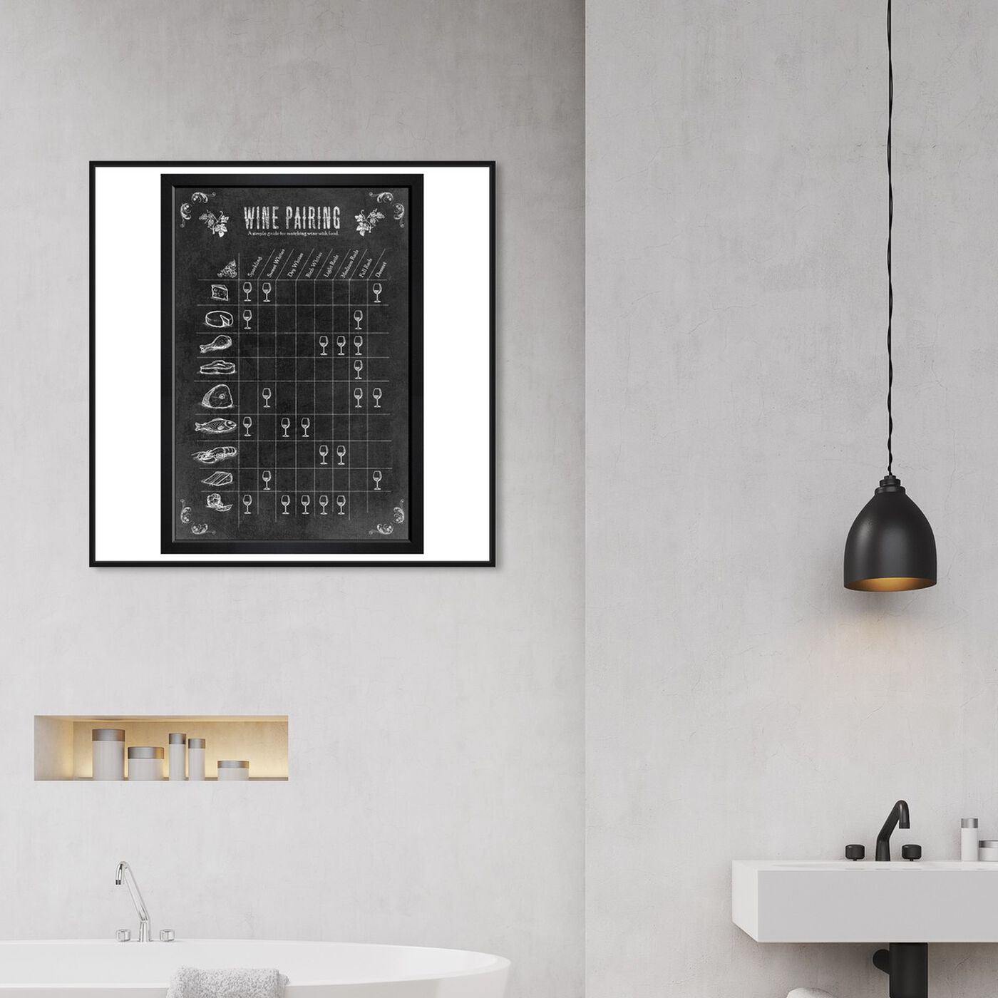 Hanging view of Wine Pairing Guide featuring drinks and spirits and wine art.