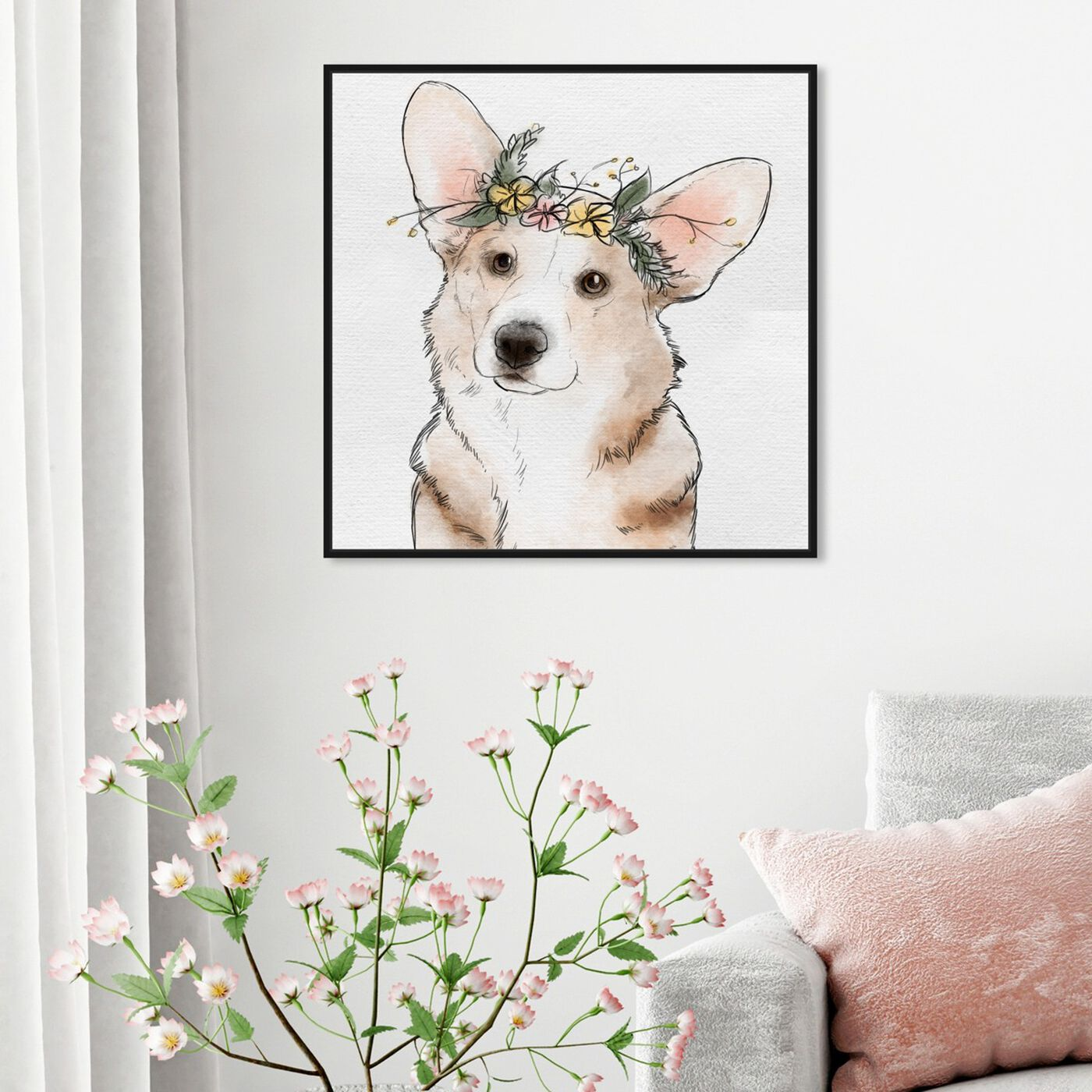 Hanging view of Floral Crown Corgi featuring animals and dogs and puppies art.
