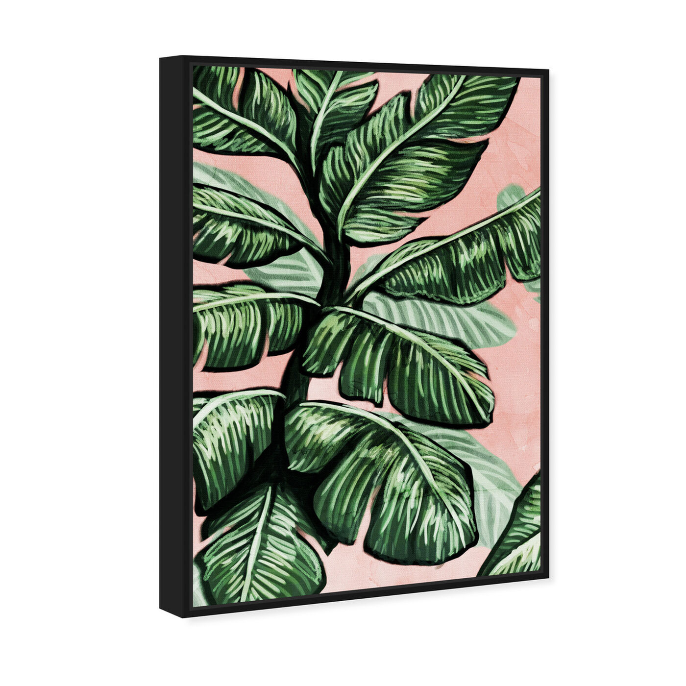 Angled view of Blush Toned Leaves featuring floral and botanical and botanicals art.