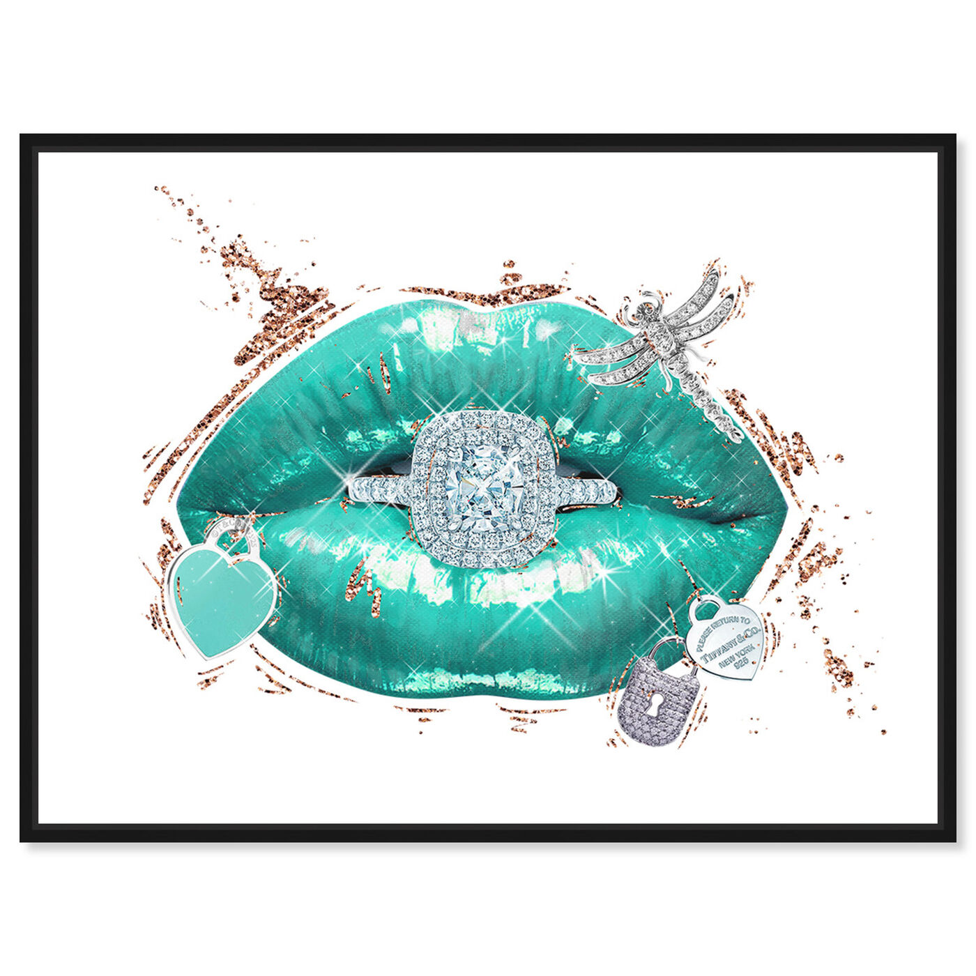 Front view of Aqua Mar Lips featuring fashion and glam and lips art.