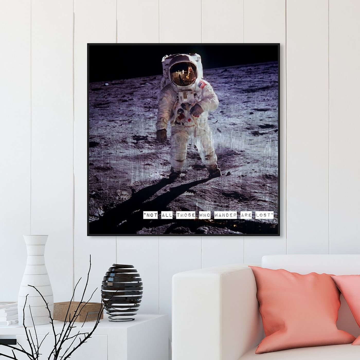 Hanging view of Apollo 11 featuring astronomy and space and astronaut art.