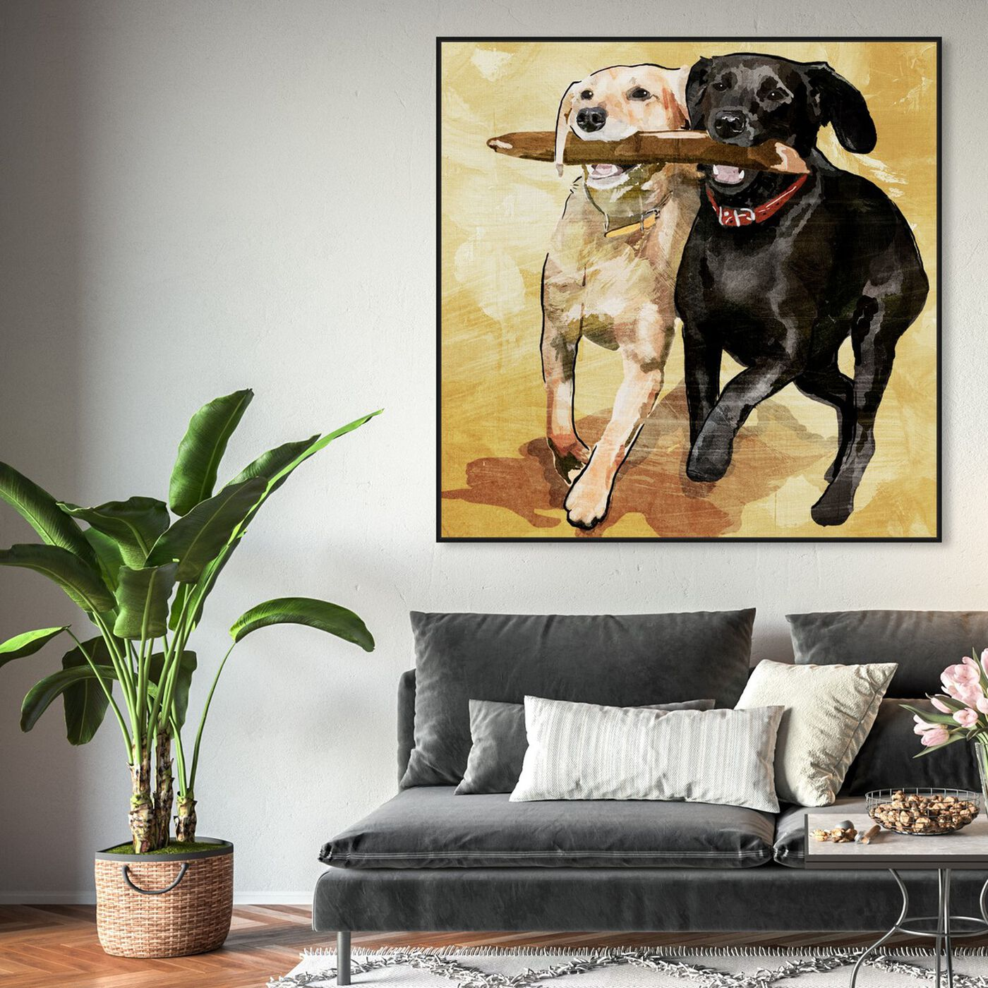 Hanging view of Playtime featuring animals and dogs and puppies art.