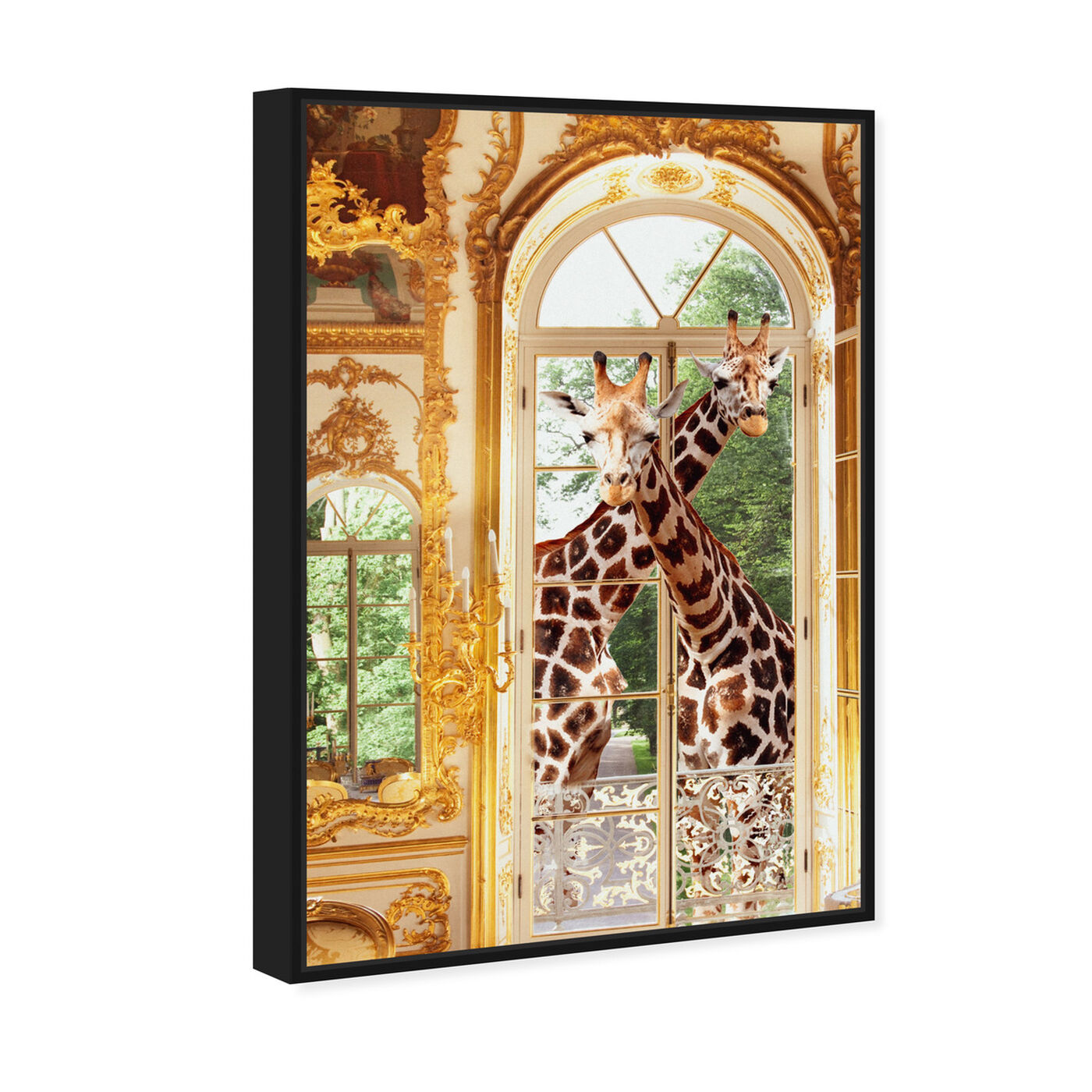 Angled view of Giraffes Joined For Breakfast featuring animals and zoo and wild animals art.