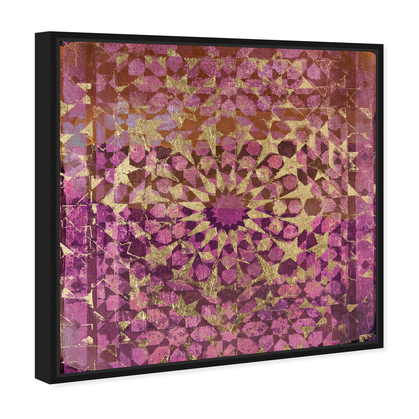 Angled view of Wine Veranda in Gold featuring abstract and patterns art.