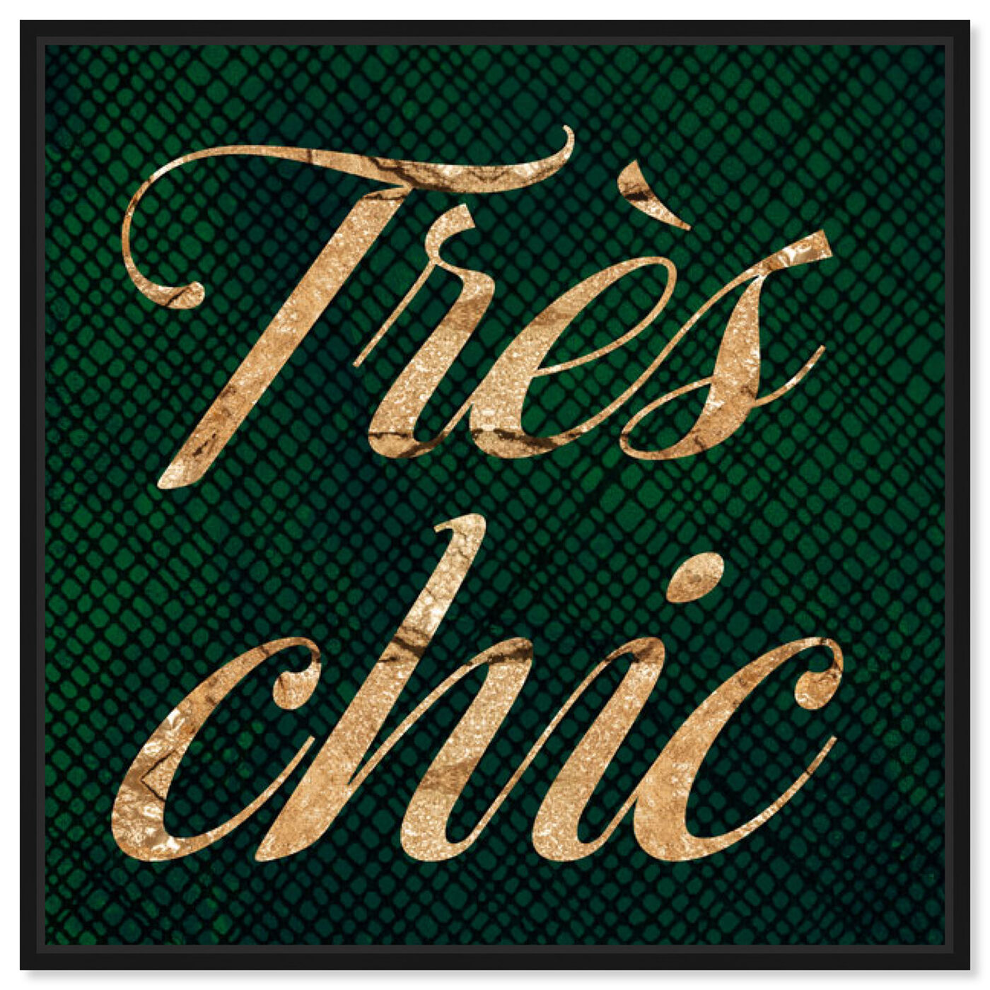 Front view of Tres Chic Emerald featuring typography and quotes and fashion quotes and sayings art.