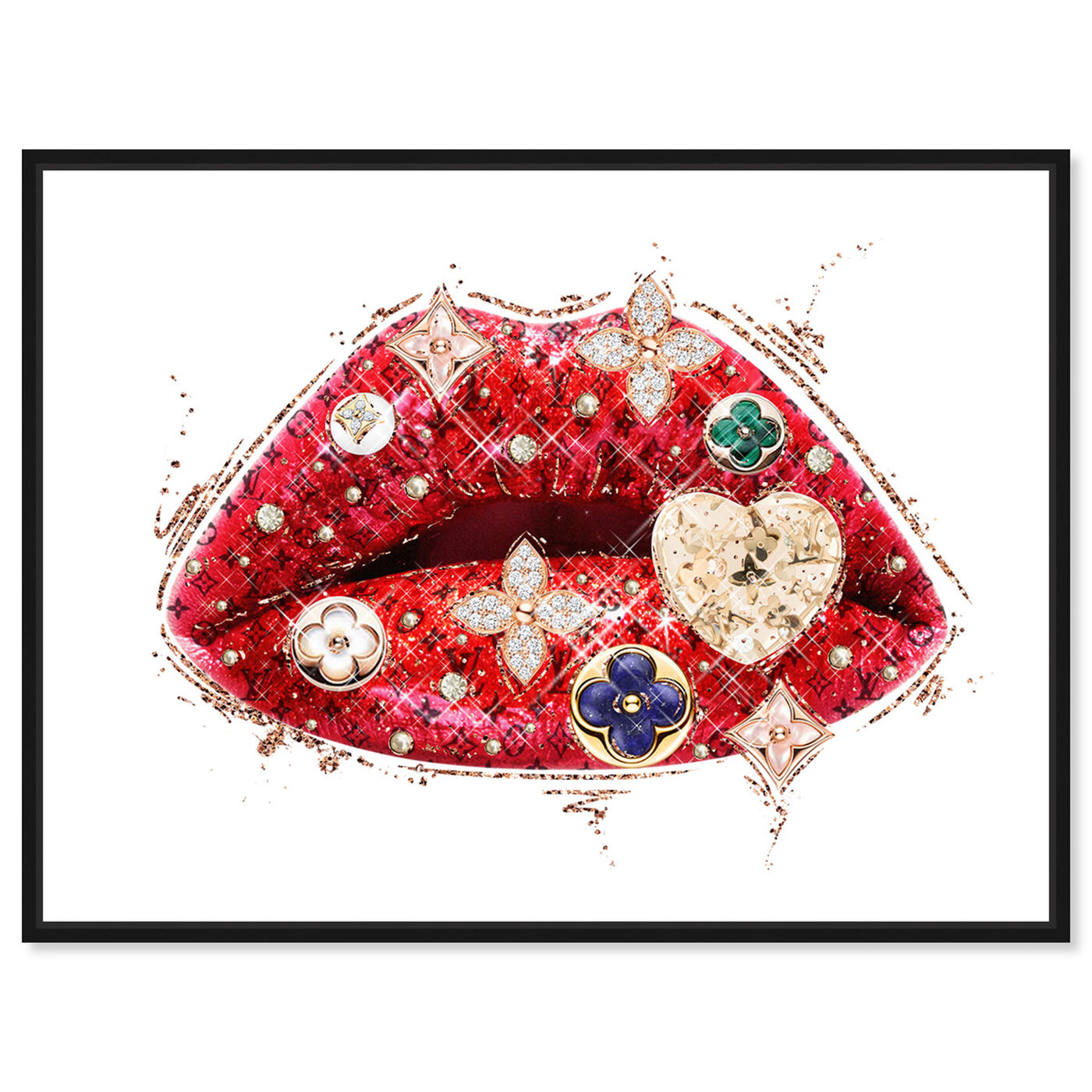 Front view of Louis Lips and Gems featuring fashion and glam and lips art.