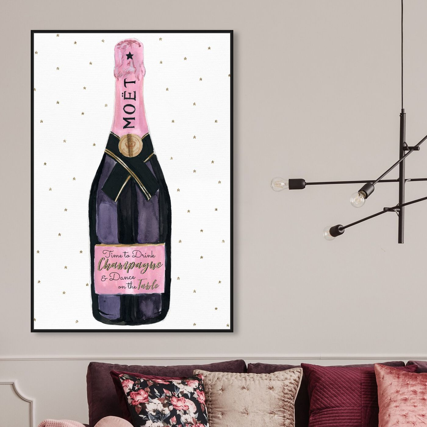 Hanging view of Champagne and Stars Pink featuring drinks and spirits and champagne art.