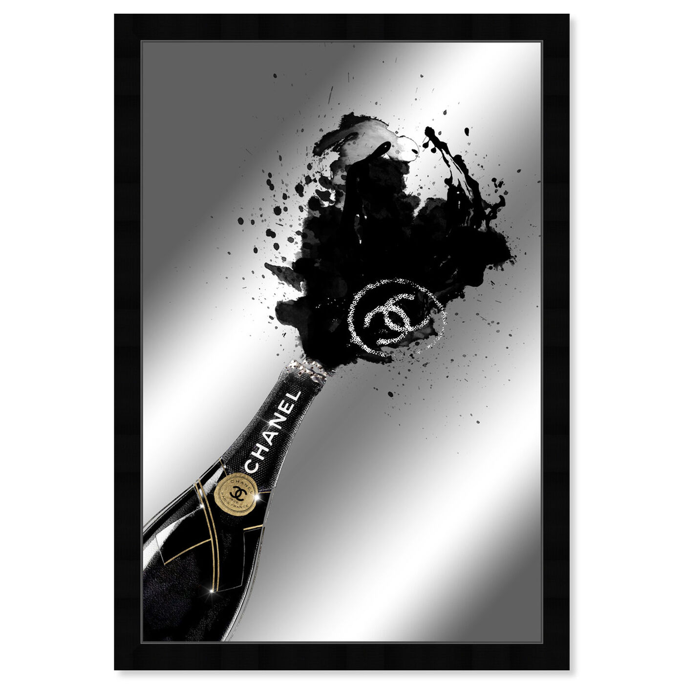 Front view of Noir Champagne Mirror featuring fashion and glam and lifestyle art.