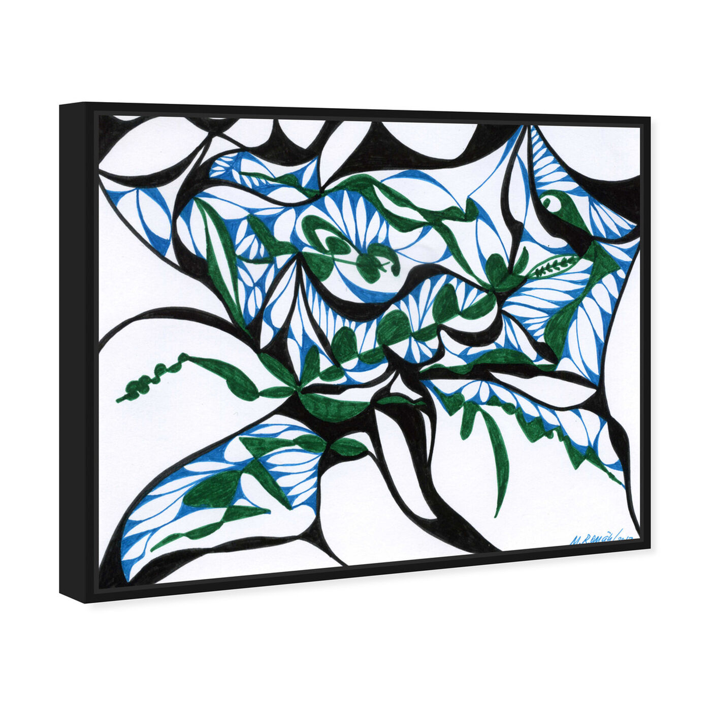 Angled view of Swirling Ferns featuring abstract and geometric art.